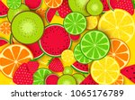 mixed fruit background | Shutterstock .eps vector #1065176789