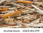 closeup scrap steel of rusty... | Shutterstock . vector #1065181199