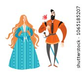 princess and prince with a... | Shutterstock .eps vector #1065185207