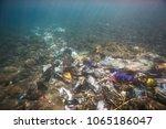 ocean pollution  rubbish in the ... | Shutterstock . vector #1065186047