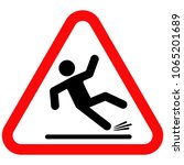 wet floor sign  red triangle... | Shutterstock .eps vector #1065201689