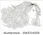 profile beautiful woman with... | Shutterstock .eps vector #1065214205