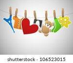 pictures on the clothespin on... | Shutterstock .eps vector #106523015