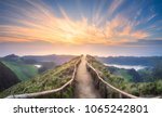 mountain landscape with hiking... | Shutterstock . vector #1065242801