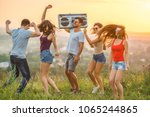the five people dancing with a... | Shutterstock . vector #1065244865