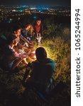 the five friends warming near... | Shutterstock . vector #1065244994