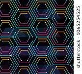 neon color tech pattern | Shutterstock .eps vector #1065254525