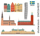 swedish set of landmark icons... | Shutterstock .eps vector #1065264839