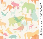 seamless pattern with animals...   Shutterstock .eps vector #1065266627