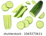 fresh cucumber slices isolated... | Shutterstock . vector #1065273611