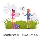 lost tourists in a foreign... | Shutterstock .eps vector #1065274547
