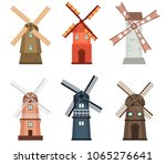 windmill traditional rural wind ... | Shutterstock .eps vector #1065276641
