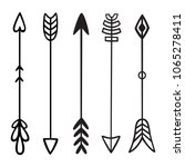 black hand drawn doodles arrows.... | Shutterstock .eps vector #1065278411