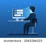 live chat concept  cartoon... | Shutterstock .eps vector #1065286325