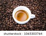 espresso coffee cup top view. | Shutterstock . vector #1065303764