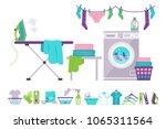 laundry room  washing machine ... | Shutterstock .eps vector #1065311564