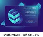 neone isometric cube  server... | Shutterstock .eps vector #1065312149