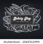 bakery banner   chalkboard... | Shutterstock .eps vector #1065312494
