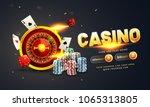 golden text casino with 3d chip ... | Shutterstock .eps vector #1065313805