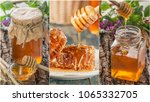 collage from honey and... | Shutterstock . vector #1065332705