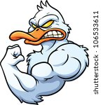 angry,cartoon,duck,flexing,gradient,illustration,isolated,mascot,muscular,strong,vector