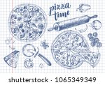 pizza with pepperoni  olives... | Shutterstock .eps vector #1065349349