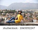 Girl tourist at the Hidirlik Hill of famous Safranbolu town World Heritage Site, Turkey