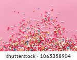 Colorful Sprinkles On A Pink...