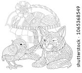 cat and baby chicken coloring... | Shutterstock .eps vector #1065368549