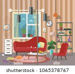 living room before and after... | Shutterstock .eps vector #1065378767