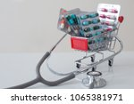 shopping cart with medications....   Shutterstock . vector #1065381971