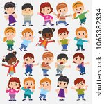 cartoon character boys and... | Shutterstock .eps vector #1065382334