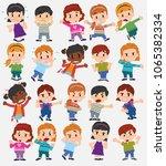 cartoon character boys and... | Shutterstock .eps vector #1065382334