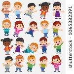 cartoon character boys and... | Shutterstock .eps vector #1065382391