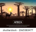 african landscape. grass  trees ... | Shutterstock .eps vector #1065383477