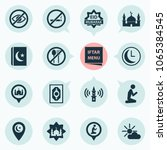religion icons set with lower... | Shutterstock .eps vector #1065384545