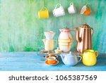 vintage coffee pots  cups ... | Shutterstock . vector #1065387569
