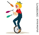 happy clown with hat riding... | Shutterstock .eps vector #1065389471