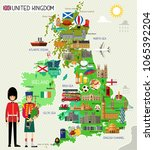 map of united kingdom and... | Shutterstock .eps vector #1065392204