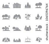 landscape icons. gray flat... | Shutterstock .eps vector #1065396764