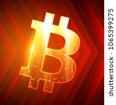 bitcoin sign on dark red... | Shutterstock .eps vector #1065399275