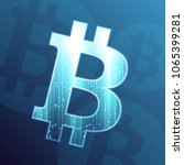 bitcoin sign on dark blue... | Shutterstock .eps vector #1065399281