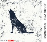 vector wolf silhouette on... | Shutterstock .eps vector #1065409019