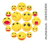 yellow smiles fun icons set.... | Shutterstock .eps vector #1065423404