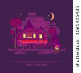 trailer and campfire at night.... | Shutterstock .eps vector #1065425435