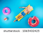 top view of young man in shorts ... | Shutterstock . vector #1065432425