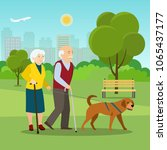 Stock vector grandparents together on walk with dog at park in summer vector flat style illustration 1065437177