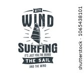 vintage hand drawn windsurfing  ... | Shutterstock .eps vector #1065438101