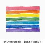 rainbow  watercolor texture.... | Shutterstock . vector #1065448514