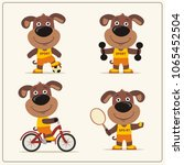 set of funny puppy dog... | Shutterstock .eps vector #1065452504